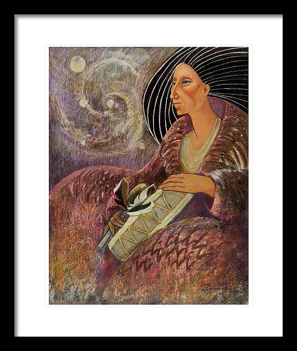 Drumming Music From The Spheres Framed Print featuring the pastel Mayan From Milky Way Gallacy by Pamela Mccabe