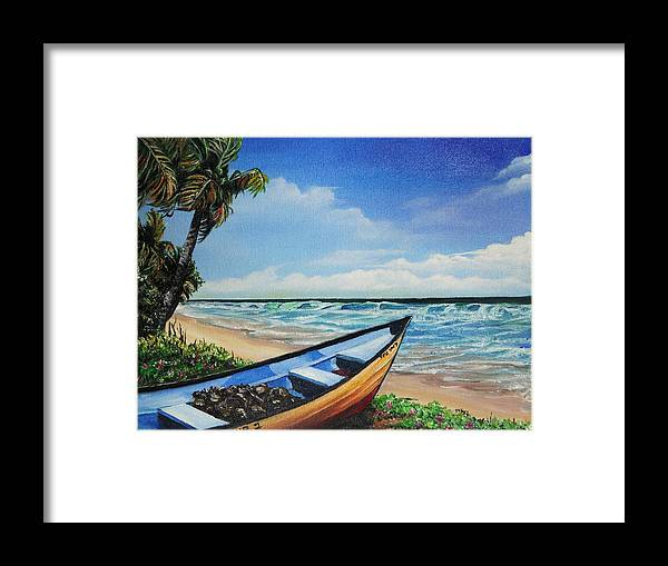 Trinidad And Tobago Beach Framed Print featuring the painting Mayaro Beach by Karin Dawn Kelshall- Best