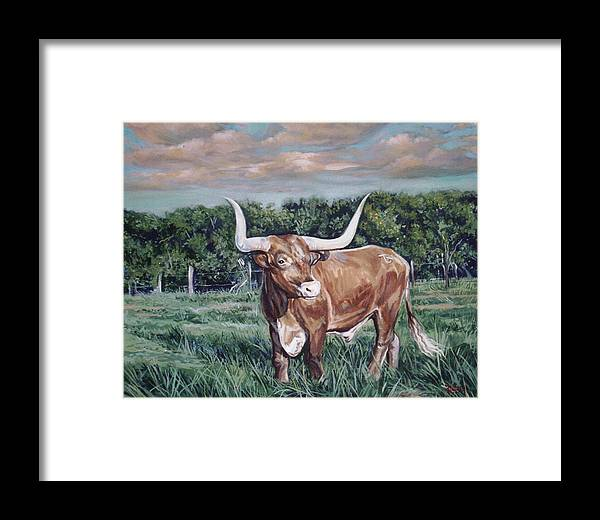 Bull Framed Print featuring the painting Mays Longhorn by Diann Baggett