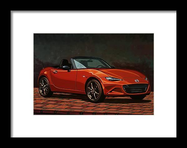 Mazda Mx-5 Miata Framed Print featuring the painting Mazda Mx-5 Miata 2015 Painting by Paul Meijering