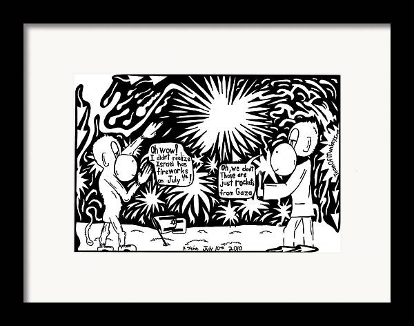4th Of July Framed Print featuring the drawing Maze Cartoon Of Israel On The Forth Of July by Yonatan Frimer Maze Artist