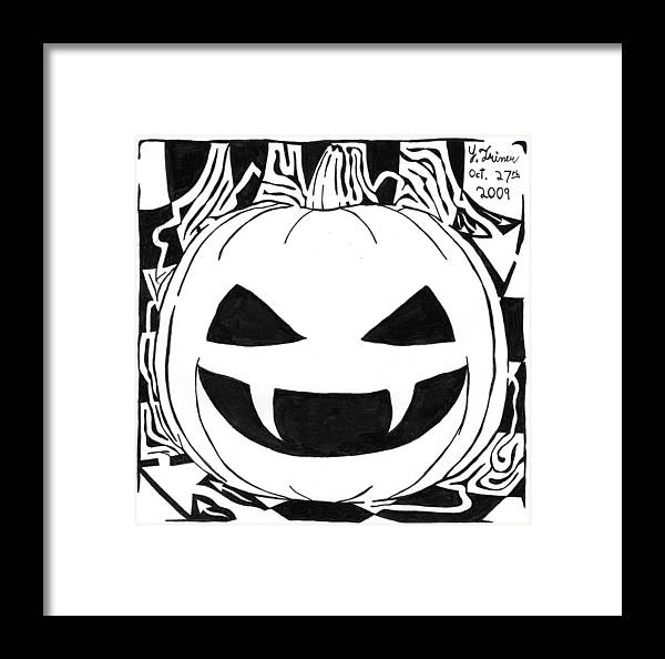 Maze Framed Print featuring the painting Maze-o-lantern by Yonatan Frimer Maze Artist