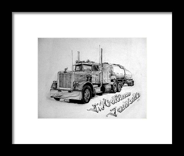 Truck Framed Print featuring the drawing Mccallum Trucking by Dean Herbert