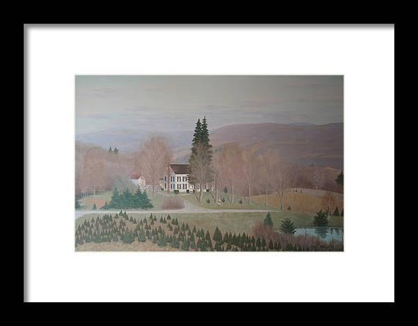 Old Federal Farm House Framed Print featuring the painting Mccarty Farm House by Joseph Stevenson