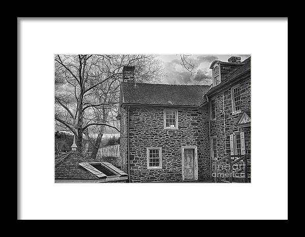 Mcconkey Ferry Inn Framed Print featuring the photograph Mcconkey Ferry Inn Black And White by Tom Gari Gallery-Three-Photography