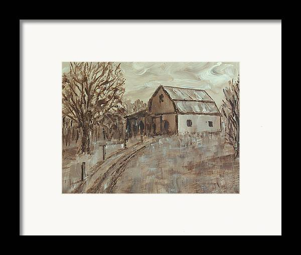 Barn Framed Print featuring the painting Mcginnis Barn by Pete Maier