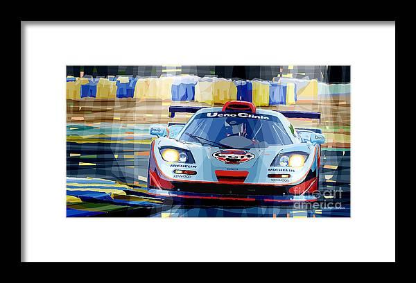 Automotive Framed Print featuring the digital art McLaren BMW F1 GTR Gulf Team Davidoff Le Mans 1997 by Yuriy Shevchuk