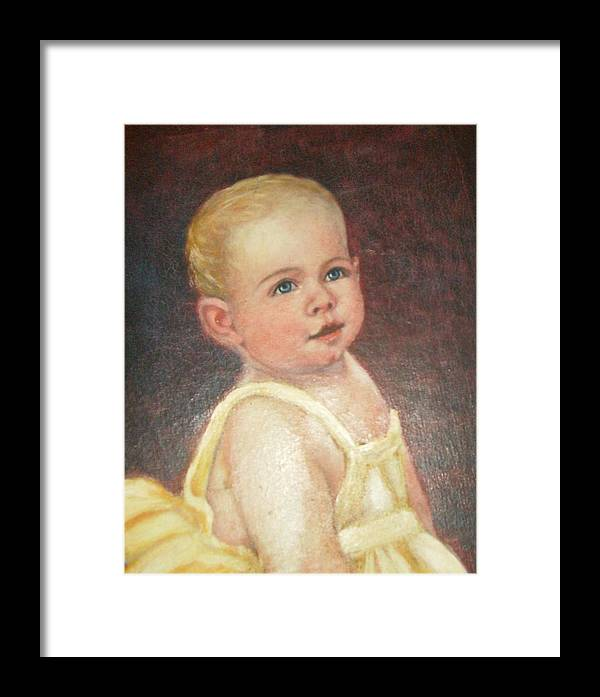 Babygirlcuteblondhair Framed Print featuring the painting Me 2 by Anne-Elizabeth Whiteway