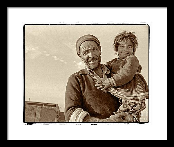 Iran Framed Print featuring the photograph Me And Grandpa, Iran by Michael Ziegler
