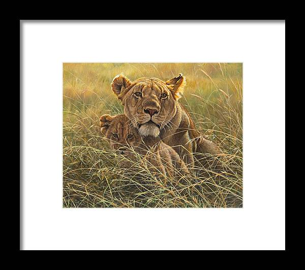 Lion Framed Print featuring the painting Me And Mum by Alan M Hunt