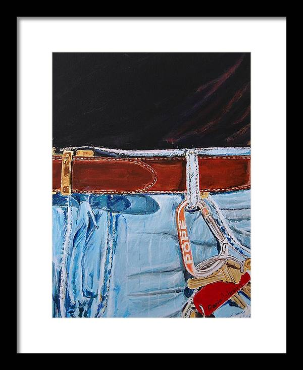 Jeans Framed Print featuring the painting Me And My Jeans by Mario Cabrera