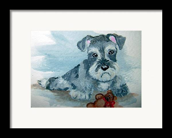 Schnauzer Framed Print featuring the painting Me And My Teddy by Tammy Brown