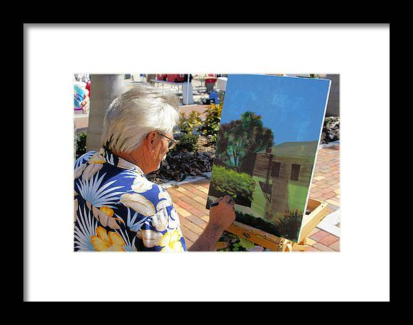 Artist At Work Framed Print featuring the photograph Me At Work Painting The Building With My Studio In It by Charles Peck