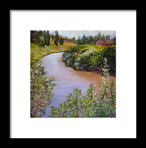 Landscape Seascape Dike Meadows Wildflowers River Blue Framed Print featuring the painting Meadow And Marsh by Catherine Robertson