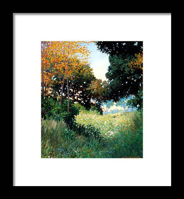 Landscape Framed Print featuring the painting Meadow by Kevin Lawrence Leveque