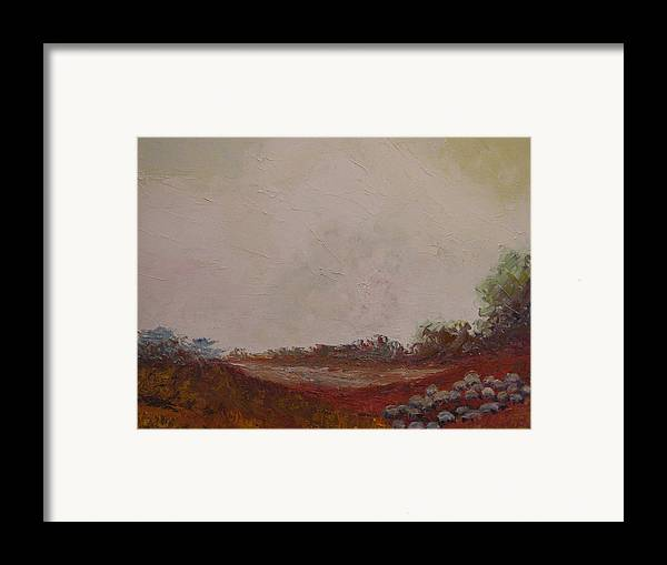 Landscape Framed Print featuring the painting Meadow With Grazing Sheep by Belinda Consten