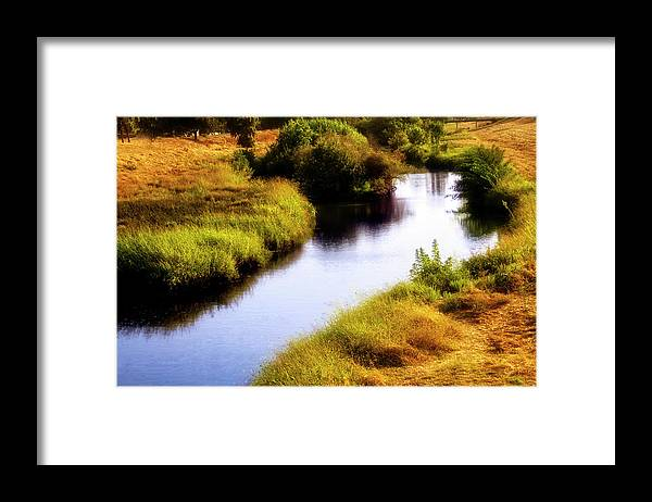 Channel Framed Print featuring the digital art Meandering Channel by Terry Davis