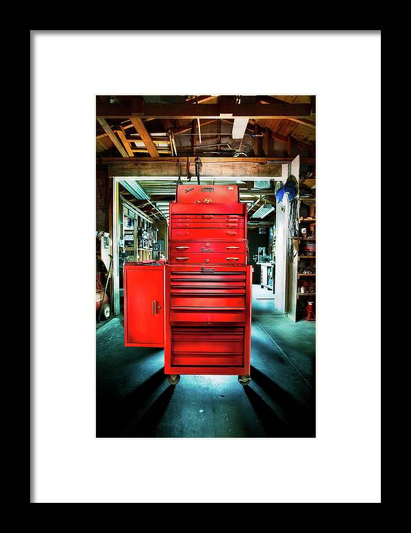 Box Framed Print featuring the photograph Mechanics Toolbox Cabinet Stack In Garage Shop by YoPedro