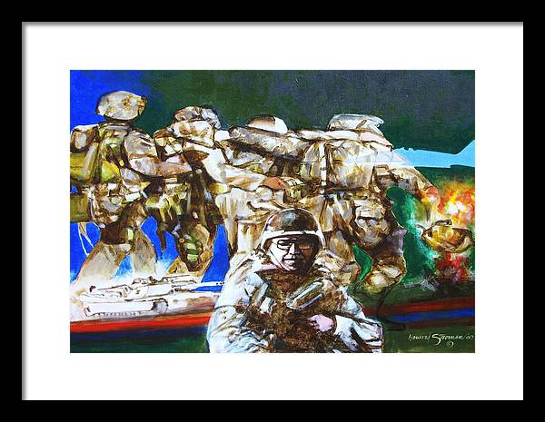 Military In Iraq Framed Print featuring the painting Med Evac Battle For Fallujah Iraq by Howard Stroman