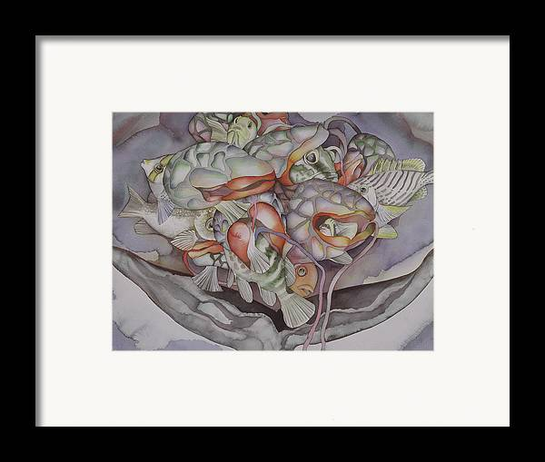Sea Framed Print featuring the painting Medallion Xii by Liduine Bekman