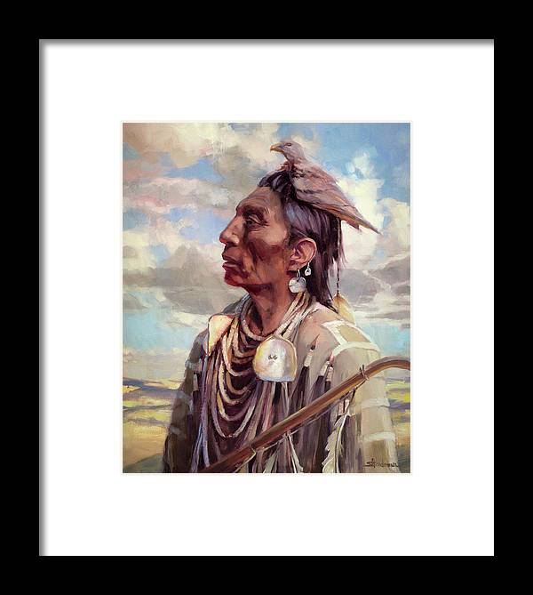 Native American Framed Print featuring the painting Medicine Crow by Steve Henderson