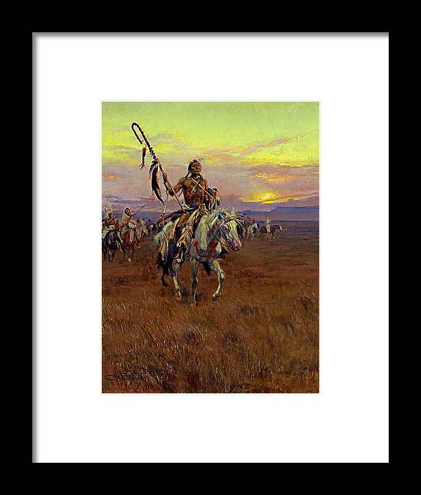 American Artist Framed Print featuring the painting Medicine Man by Charles Marion Russell