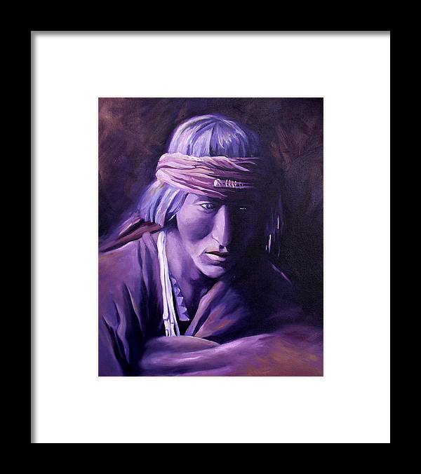 Native American Framed Print featuring the painting Medicine Man by Nancy Griswold