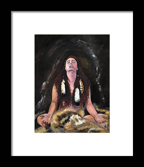 Southwest Art Framed Print featuring the painting Medicine Woman by J W Baker