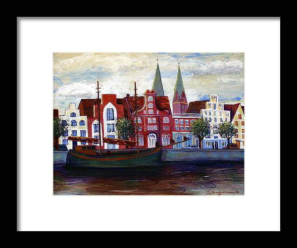 Lubeck Framed Print featuring the painting Medieval Town In Lubeck Germany by Art Nomad Sandra Hansen