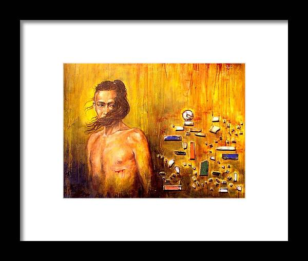 Meditation Framed Print featuring the painting Meditation 2 by Ixchel Amor