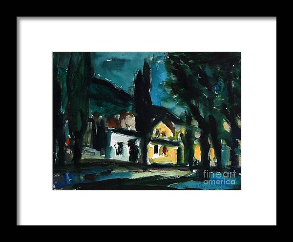 Mediterranean Framed Print featuring the painting Mediterranean Night by Andrey Semionov