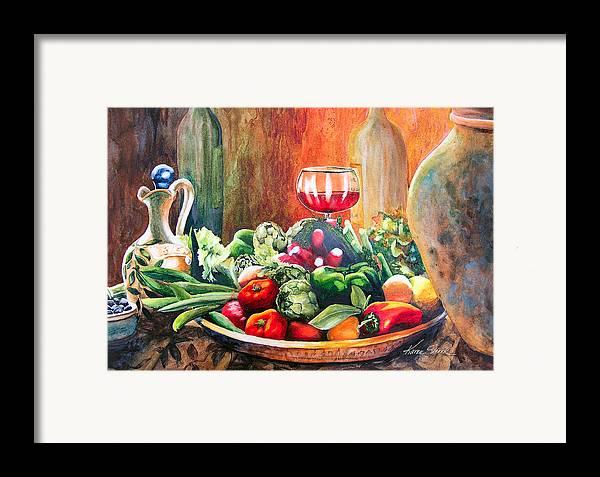 Still Life Framed Print featuring the painting Mediterranean Table by Karen Stark