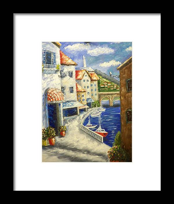 Landscape Framed Print featuring the painting Meditteranian View by Charles Vaughn