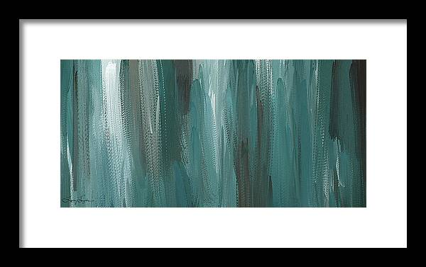 6a852aa1831 Meet Halfway - Teal And Gray Abstract Art Framed Print by Lourry Legarde