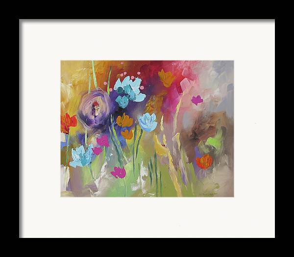 Original Framed Print featuring the painting Meet Me In The Garden by Linda Monfort
