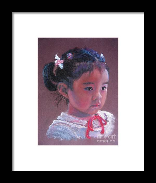 Girl Framed Print featuring the painting Mei Lan Beautiful Orchid by Shirley Leswick