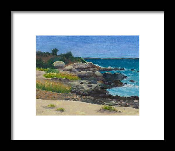 Landscape Framed Print featuring the painting Meigs Point by Paula Emery