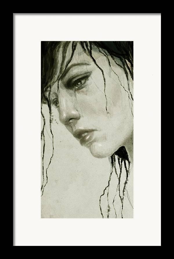 Woman Framed Print featuring the digital art Melancholic by Diego Fernandez