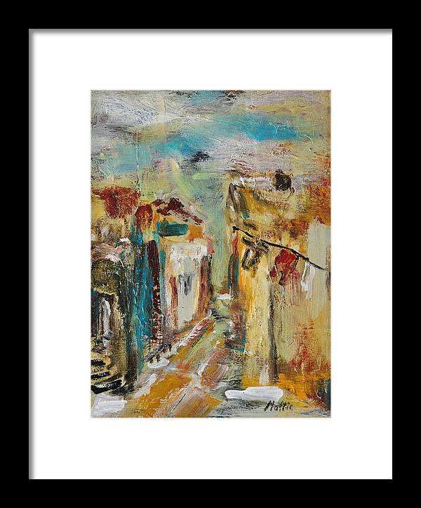 Serenity Framed Print featuring the painting Melancholy Of The Old Town by Rome Matikonyte
