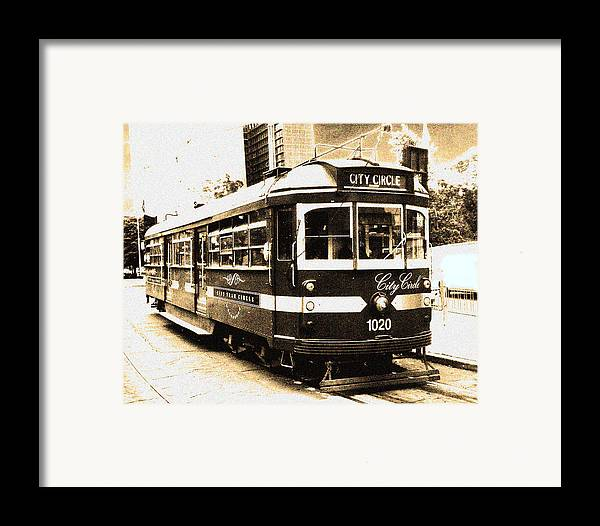 Sepia Framed Print featuring the photograph Melbourne Tram by Darren Stein