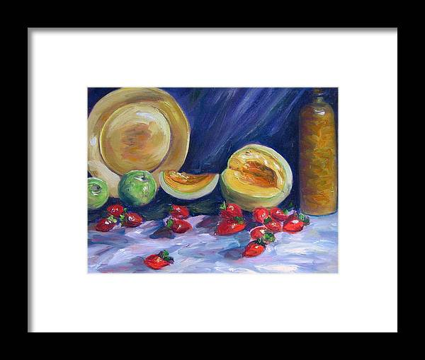 Still Life Framed Print featuring the painting Melons With Strawberries by Richard Nowak