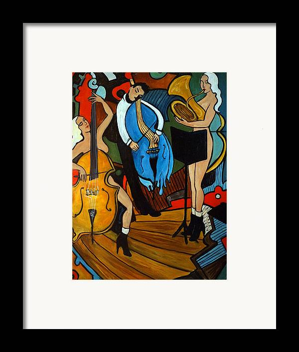 Musician Abstract Framed Print featuring the painting Melting Jazz by Valerie Vescovi