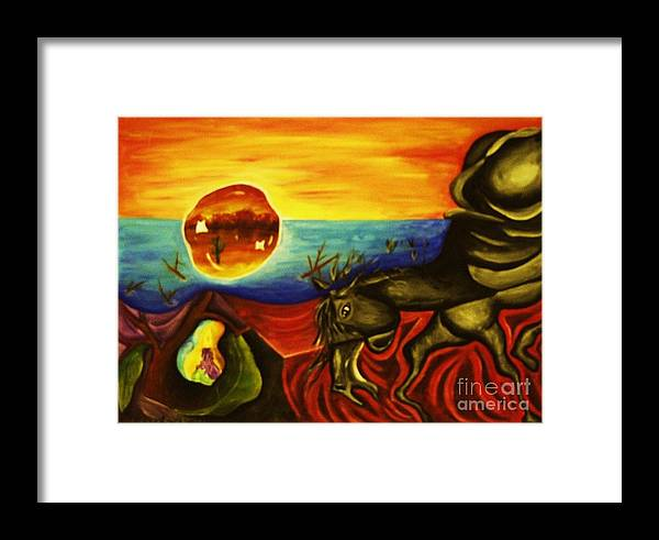 Surrealism Paintings Framed Print featuring the painting Melting Mammal by Jamey Balester
