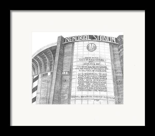 Baltimore Orieols Stadium Framed Print featuring the drawing Memorial Stadium by Juliana Dube