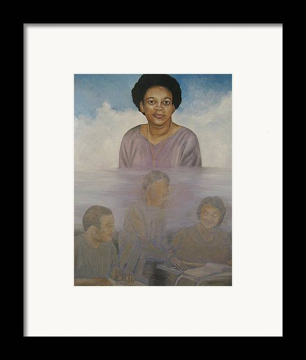Portrait Framed Print featuring the painting Memorial To Ms. Calvin by Angelo Thomas