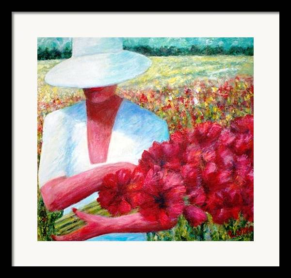 Woman. Field. Counrty. Flowers. Memories. Framed Print featuring the print Memories In Red by Carl Lucia