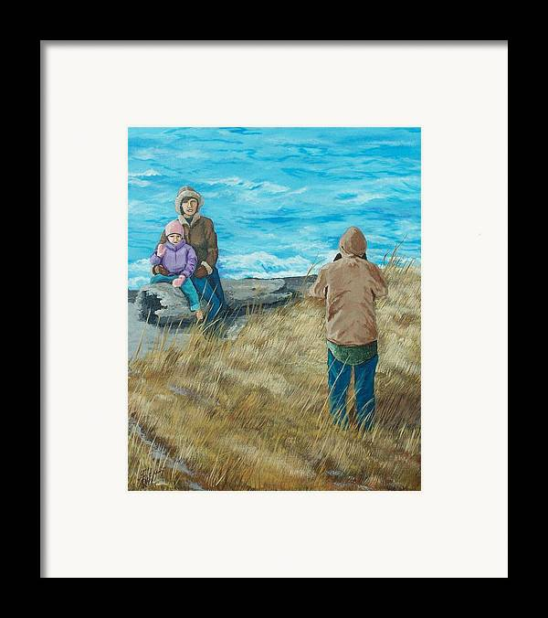 Ocean Scape Framed Print featuring the painting Memories Of Ocean Shores by Gene Ritchhart