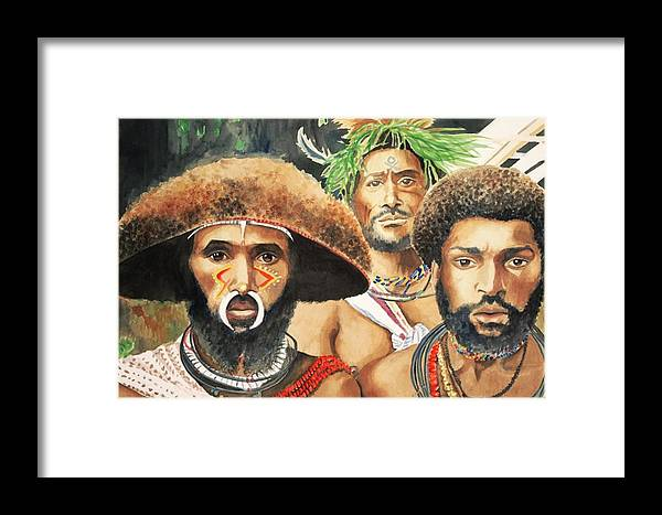 Men From New Guinea Framed Print featuring the painting Men From New Guinea by Judy Swerlick