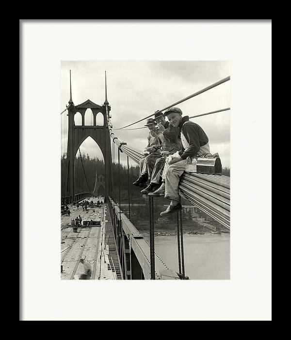 St. John's Bridge Framed Print featuring the photograph Men On Bridge by Ray Atkeson