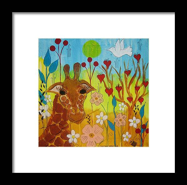 Giraffe Framed Print featuring the painting Mending Love by Cynthia Koch